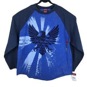 JNCO Jeans Blue Long Sleeve Eagle Colorblock Tee